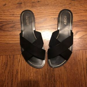JCrew black leather sandals